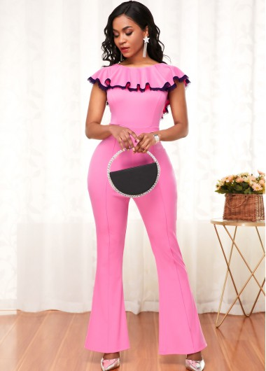 Contrast Piping Ruffle Hem Pink Flare Jumpsuit - M