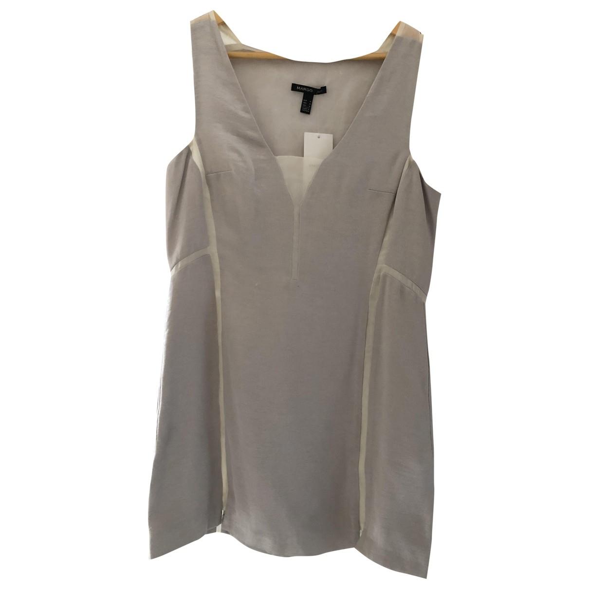 Mango - Robe   pour femme en soie - gris