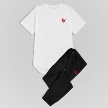 Men Graphic Print Dip Hem Tee & Drawstring Waist Sweatpants