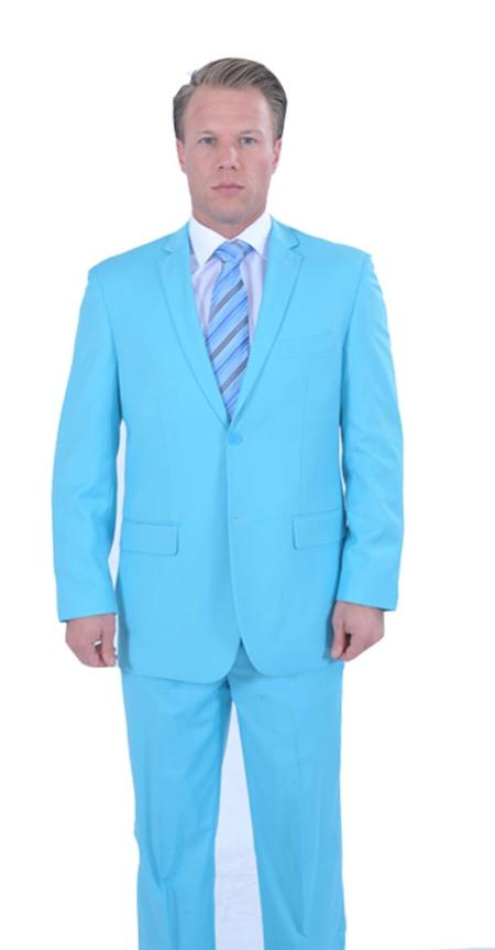 Mens 2 Piece affordable suit online sale Sky Blue