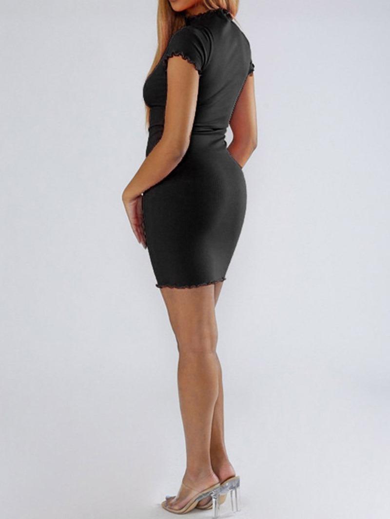 Ericdress Stand Collar Plain Short Sleeve Single Mid Waist Bodycon Dress