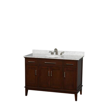 WCV161648SCDCMUNRMXX 48 in. Single Bathroom Vanity in Dark Chestnut  White Carrera Marble Countertop  Undermount Oval Sink  and No
