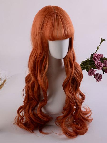 Milanoo Peluca dulce de Lolita Peluca de pelo de Lolita roja rizada larga y rizada con flequillo