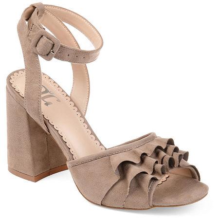 Journee Collection Womens Becca Heeled Sandals, 7 1/2 Medium, Beige