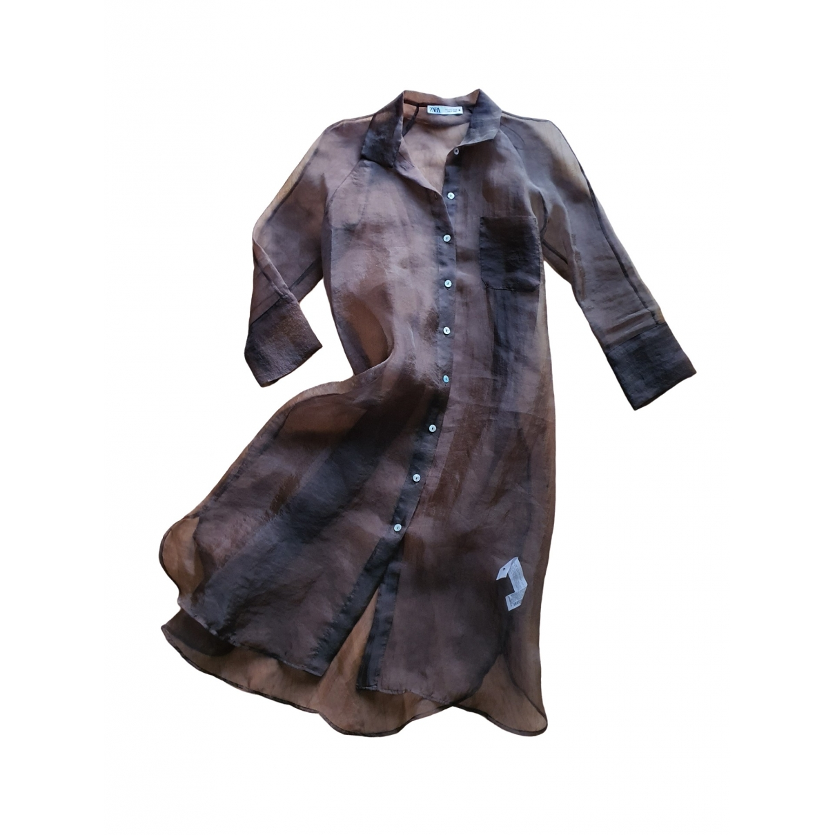 Zara \N Kleid in  Khaki Polyester