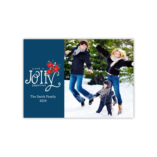20 Pack of Gartner Studios® Personalized Poinsettia Pattern Holiday Flat Photo Card in Navy Blue | 5