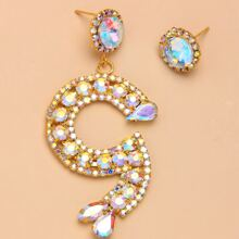 2pcs Rhinestone Decor Earrings