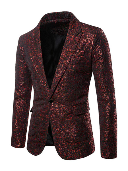 Milanoo Blazers Jackets Men Gold Stamping Casual Suits