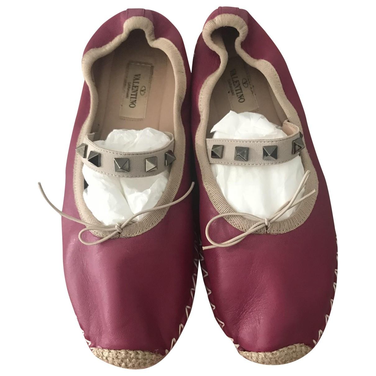 Valentino Garavani \N Pink Leather Espadrilles for Women 37 EU