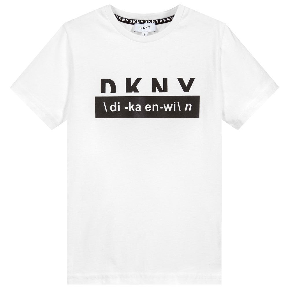 DKNY Kids Logo T-Shirt White Colour: WHITE, Size: 16 YEARS