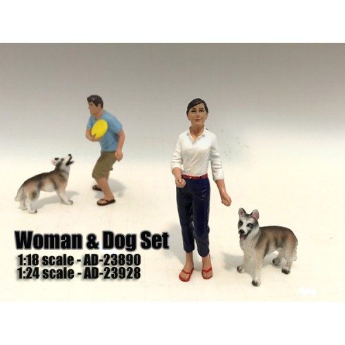 Woman and Dog 2 Piece Figure Set For 124 Scale Models by American Diorama