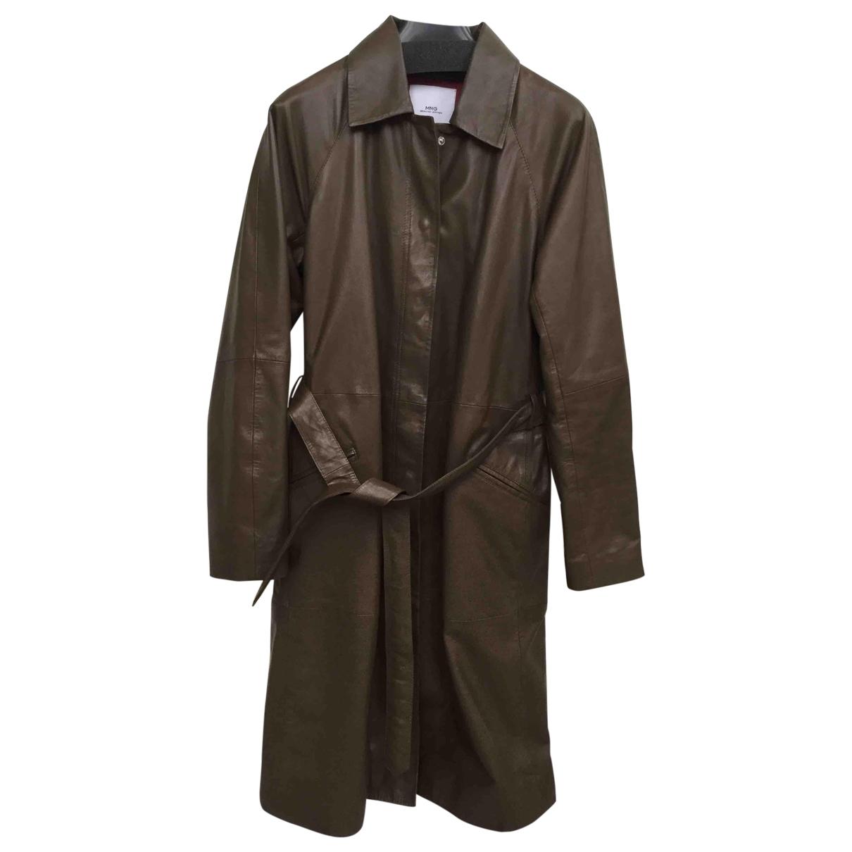 Mango - Manteau   pour femme en cuir - kaki