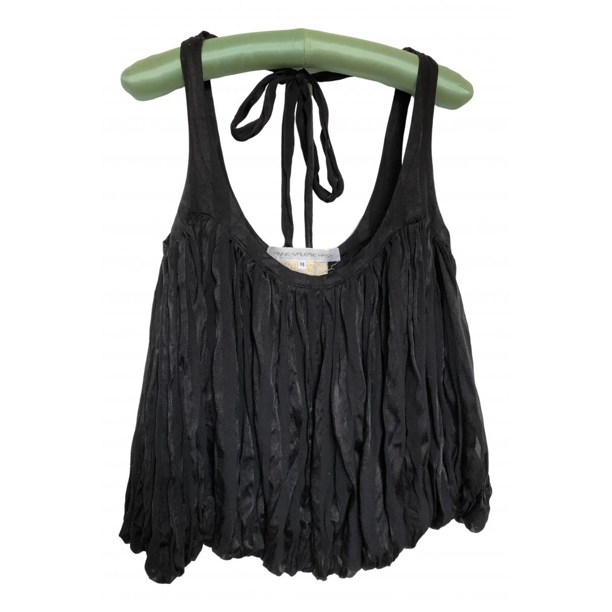Anne Valerie Hash - Top   pour femme en soie - noir