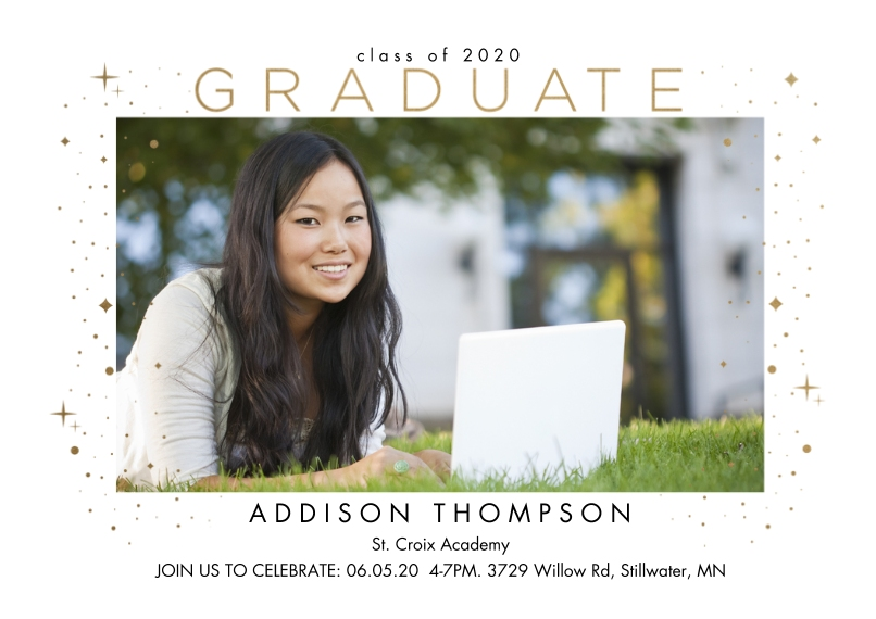 Graduation Invitations Flat Glossy Photo Paper Cards with Envelopes, 5x7, Card & Stationery -Confetti Frame