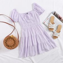 Tie Neck Ruched Bust Puff Sleeve Tiered Dress