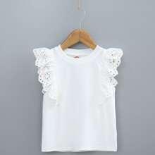 T-Shirt mit Kontrast Ose Stickereien und Raffung