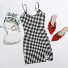 Split Hem Gingham Bodycon Dress