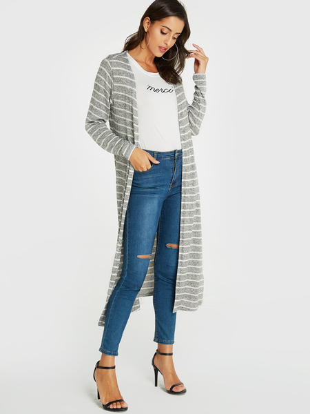 YOINS Grey Stripe Open Front Design Jersey Cardigan