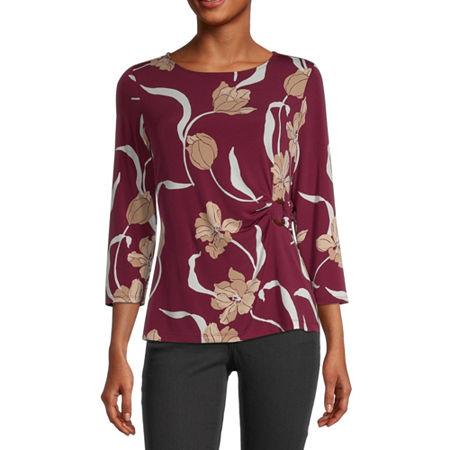 Liz Claiborne Womens Round Neck 3/4 Sleeve Blouse, X-small , Red