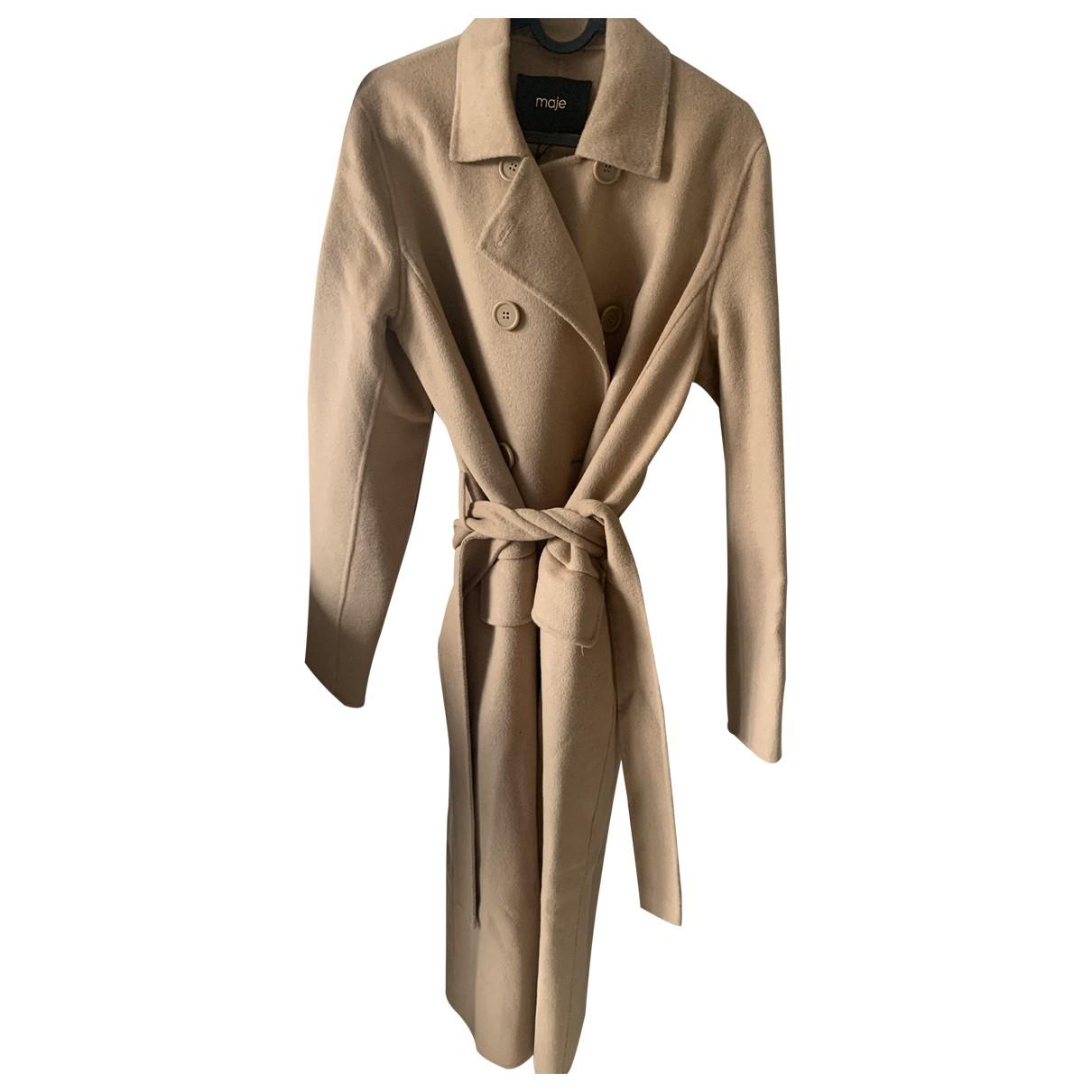 Maje - Manteau   pour femme en laine - camel