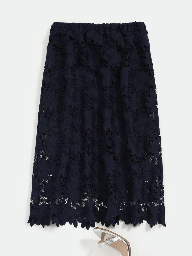 Ericdress A-Line Plain Hollow Knee-Length Skirt