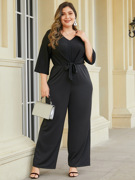 YOINS Plus Size Black Tie-up Design V-neck 3/4 Length Sleeves Jumpsuit