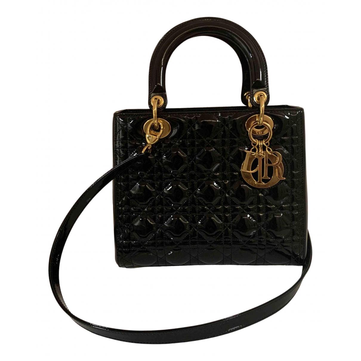 Dior Lady Dior Black Patent leather handbag for Women N