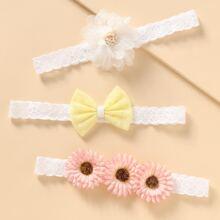 2 Stuecke Kleinkind Maedchen Kopfband mit Blumen Dekor
