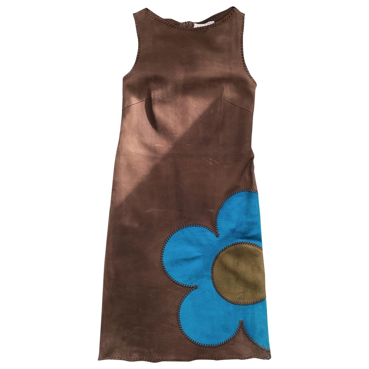 Celine \N Kleid in  Braun Leder
