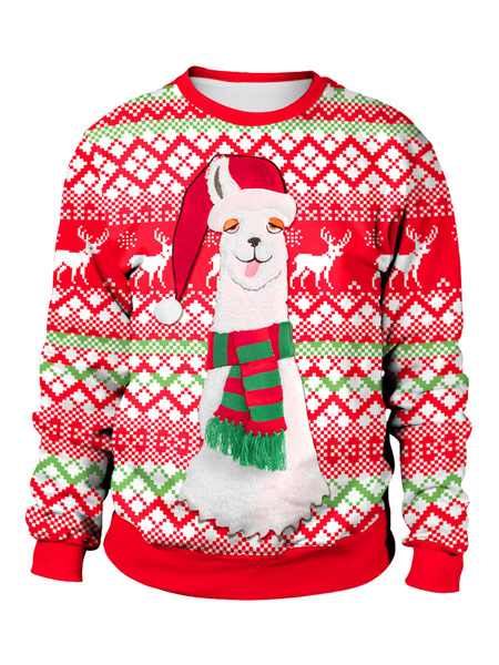 Milanoo Ugly Christmas Sweater Red Christmas Reindeer Pattern Crewneck Long Sleeve Top