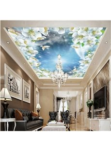 3D White Flowers under Sky Pattern PVC Waterproof Sturdy Eco-friendly Self-Adhesive Ceiling Murals