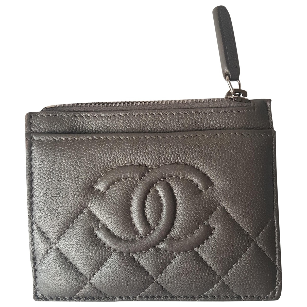 Chanel Timeless/Classique Kleinlederwaren in  Silber Leder
