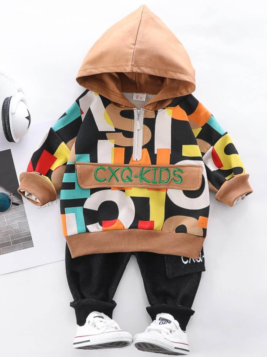 LW Lovely Casual Hooded Collar Letter Print Brown Boy Two-piece Pants Set