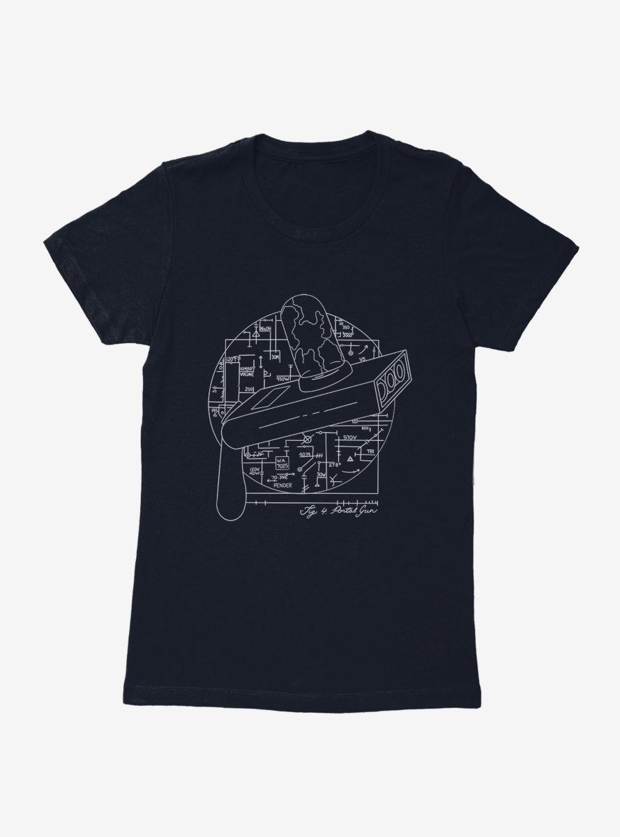 Rick And Morty Vitruvian Portal Gun Womens T-Shirt