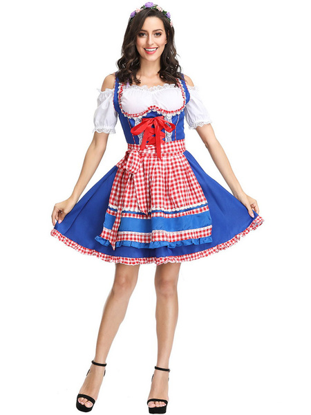 Milanoo Beer Girl Costume Grass Green Plaid Frill Lace Up Apron Polyester Oktoberfest Holidays Costumes Oktoberfest Costumes