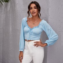 Tie Front Frill Trim Milkmaid Top
