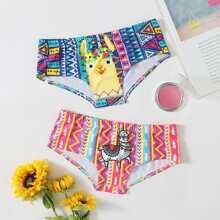 2pack Cartoon & Geo Print Panty Set