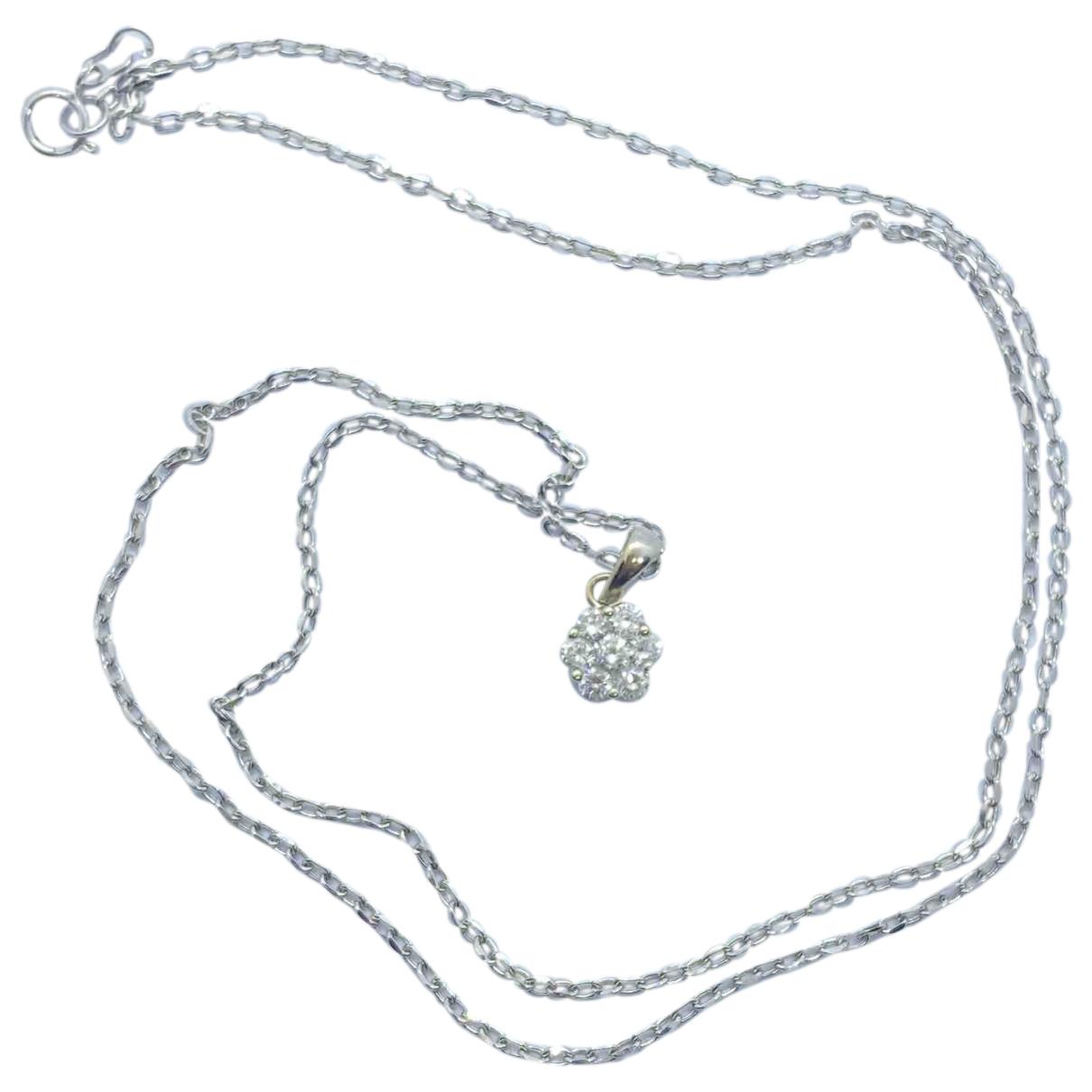 - Collier Motifs Floraux pour femme en or blanc - blanc