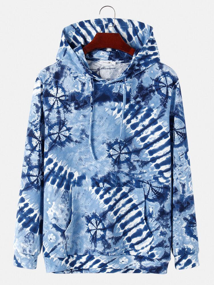 Mens Tie-Dye Print Casual Loose Drawstring Hoodies With Kangaroo Pocket