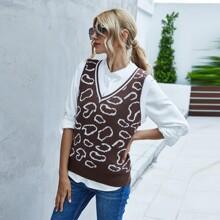Pullover Weste mit Grafik Muster und V-Kragen