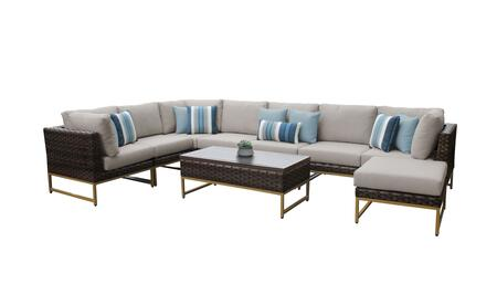 Barcelona BARCELONA-09d-GLD 9-Piece Patio Set 02a with 3 Corner Chairs  4 Armless Chairs  1 Coffee Table and 1 Ottoman - 1 Beige Cover with Gold