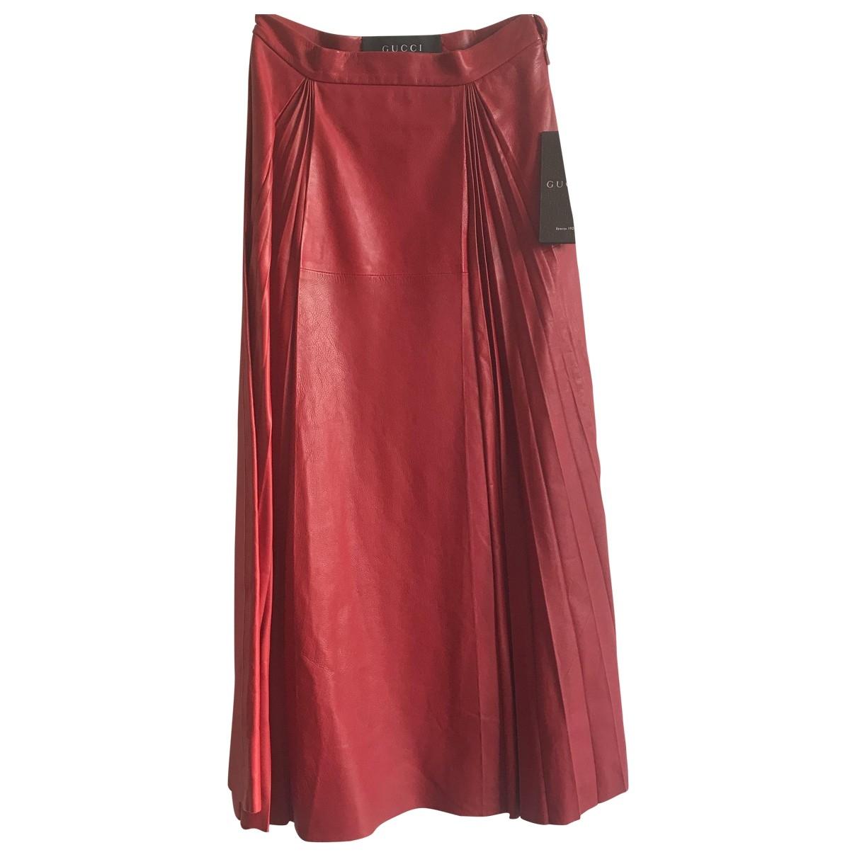 Gucci - Jupe   pour femme en cuir - rouge