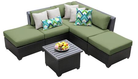 Barbados BARBADOS-06f-CILANTRO 6-Piece Wicker Patio Set 06f with 1 Corner Chair  2 Armless Chairs  2 Ottomans and 1 End Table - Wheat and Cilantro