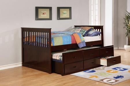 Bennett Collection Full Size Captain Bed with Trundle  3 Storage Drawers  Solid Hardwood and Wood Veneer Construction in Espresso
