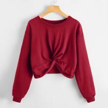 Einfarbiger Crop Pullover mit Twist vorn