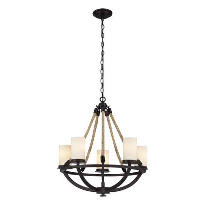 63041-5 Natural Rope 5 Light Chandelier in Aged
