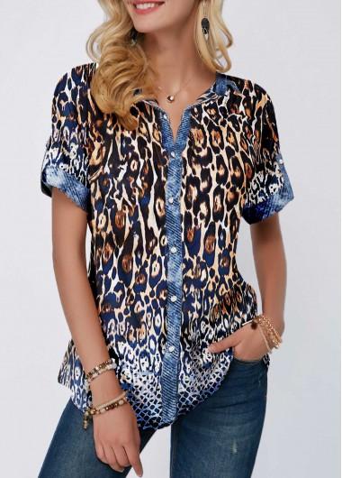 Rosewe Women Blouse Leopard Print Button Front Split Neck Tunic - XXL