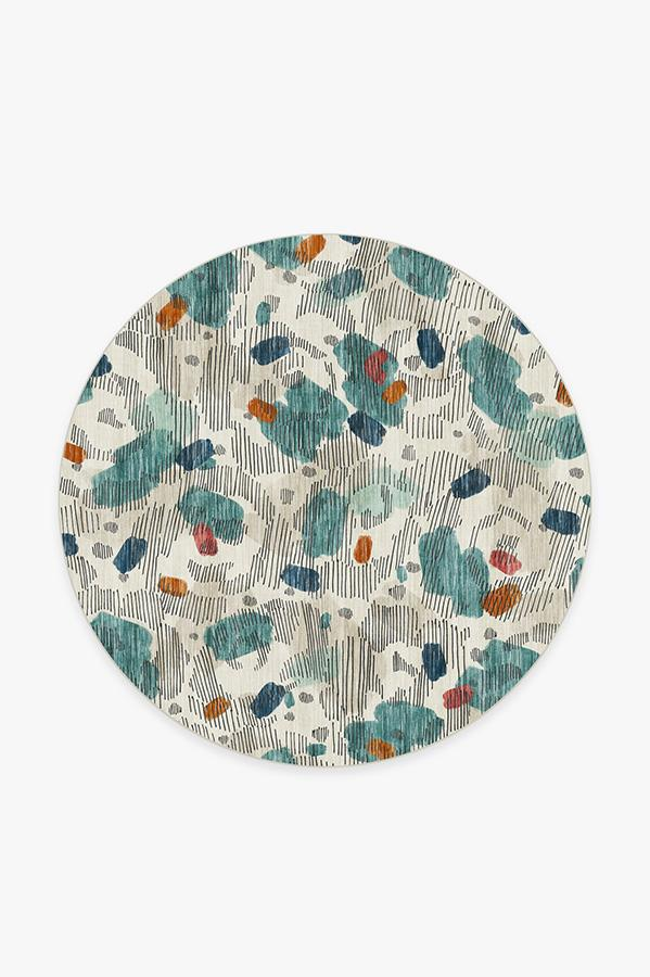 Washable Rug Cover   Leona Teal Rug   Stain-Resistant   Ruggable   6' Round