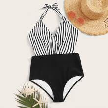 Striped Halter Knot Back Monokini
