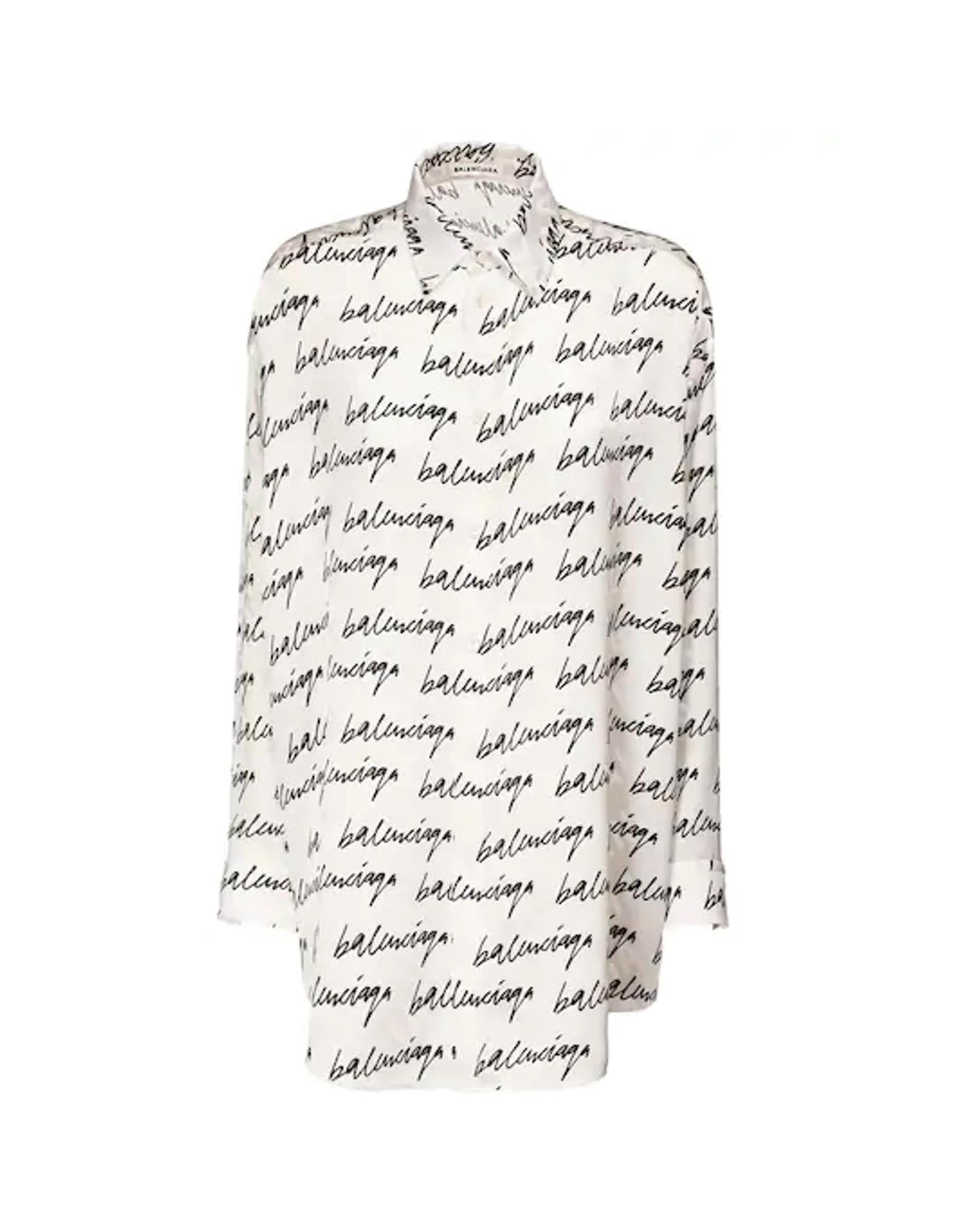 Balenciaga White Silk Scribble Printed Shirt